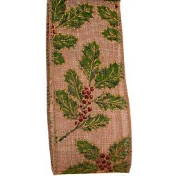 Christmas Holly Design On Burlap Style Ribbon