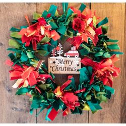 Christmas Ribbon Wreath Kit With Merry Christmas Wooden Plaque