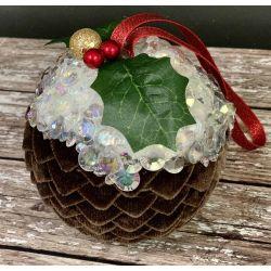 Make Ribbon Christmas Pudding Decorations