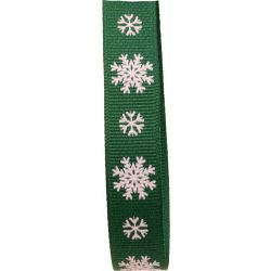 Christmas Ribbon Green Grosgrain With White Snowflakes