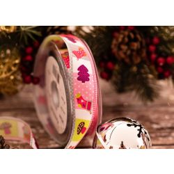 25mm PATCHWORK CHRISTMAS RIBBON