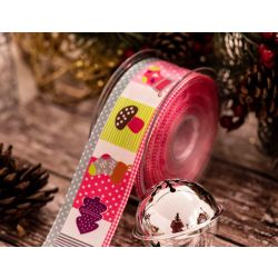 Patchwork Christmas Ribbon In 40mm Pink & Grey Mix