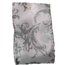 63mm x 10yds Wired Edged White Satin With Silver Glitter Damask Design