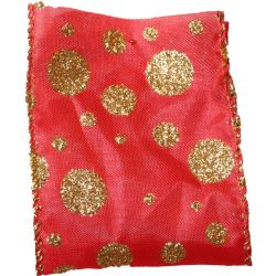 63mm x 10yds Wired Edged Red Satin With Gold Glitter Spots Design
