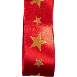 Red Christmas Satin Ribbon With Gold Foil Star print
