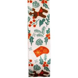 Reindeer and holly ribbon