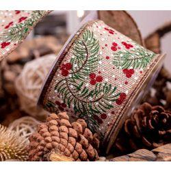 Hessian Style Christmas Ribbon WithFir Tree, Berries & SnowFlakes 63mm