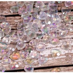 Iridescent Heart Shaped Faceted Acrylic Gems