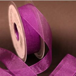 Plum Sheer Ribbons | Organza Ribbons by Berisfords Ribbons - 10mm - 40mm widths available