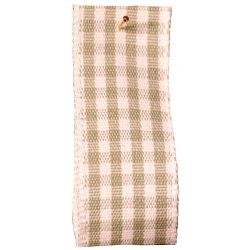 Rustic Gingham Ribbon in Cloudy Green (Colour 80) - available in 7mm - 25mm widths