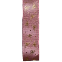 25mm Colonial Rose Satin Ribbon With Gold Bee Design
