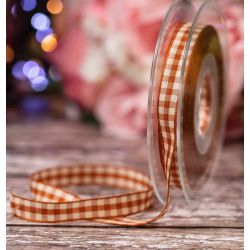 10mm Natural Gingham Ribbon In Copper By Berisfords Ribbons