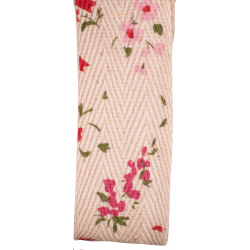 pink floral print on cotton herringbone tape