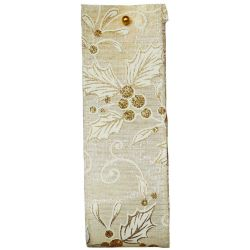 Mistletoe and Holly Wired Edge Ribbon in Ivory and Gold  Article 644670