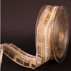 Cream and Gold Plaid Sheer Ribbon 15mm x 25m
