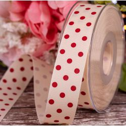 25mm x 20m Cream Grosgrain With Red Polka Dots