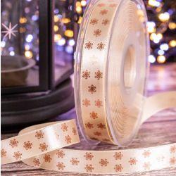 15mm cream satin ribbon with rose gold polka flakes