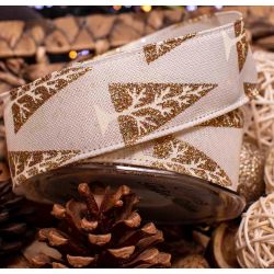 Ivory Ribbon with Gold Glitter Christmas Tree - 38mm x 9.1m