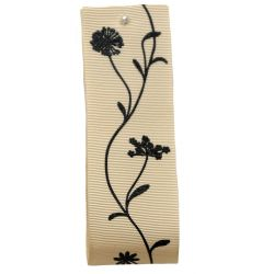 40mm Grosgrain Ribbon With Floral Print In Cream