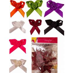 Cross Over Bow With Ribbon Rose Shade Card