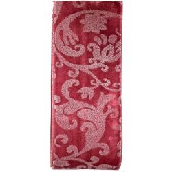 Berry Pink Velvet Ribbon With White Floral Print