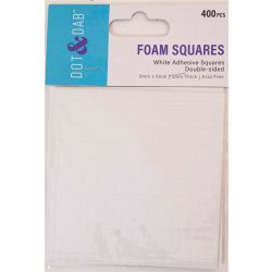 Dot & Dab White Adhesive Foam Squares - Double Sided - 400pcs - 5mm x 5mm x 2mm