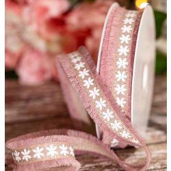 Dusky Pink Frayed Edged Floral Design Ribbon