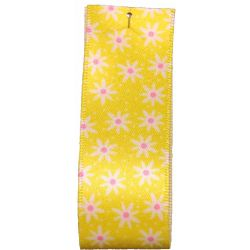 Daisy Chain Ribbon in Yellow by Berisford Ribbons 25mm x 20m