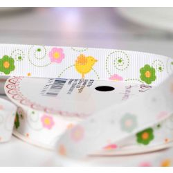 Chick and flowers print on 16m grosgrain ribbon