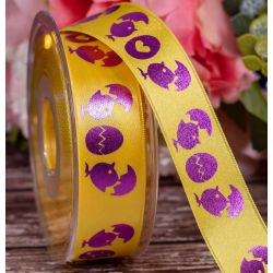 25mm Easter Yellow Ribbon With Purple Chick Design