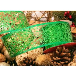 Green Web Ribbon With Glitter 63mm x 10yrds