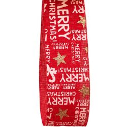 Red Hessian Style Ribbon With Merry Christmas Print