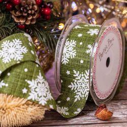 White Christmas Snowflake Design On Green Faux Burlap