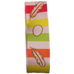 25mm Eggs & Feathers Taffeta Ribbon in Spring Shades (Col: 1058)