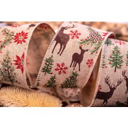 63mm Deer and Poinsettia Christmas Ribbon