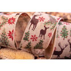 63mm Deer and Poinsettia Christmas Ribbon