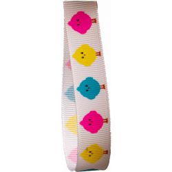 15mm White Grosgrain Ribbon With Bright Chick Print