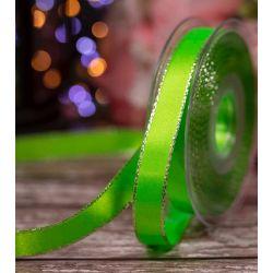15mm Flo Green Silver Edged Satin Ribbon By Berisfords Ribbons