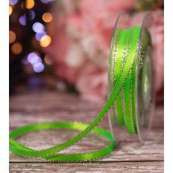 7mm Flo Green Silver Edged Satin Ribbon By Berisfords Ribbons