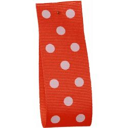 Neon Orange Grosgrain with White Polka Dots - Article 14437