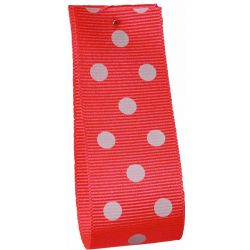 Neon Pink Grosgrain Ribbon with White Polka Dots - Article 14437