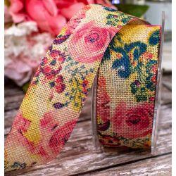 Floral Design On Burlap / Hessian Style Ribbon 38mm x 10m