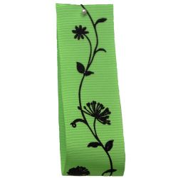 40mm Grosgrain Ribbon With Floral Print In Green