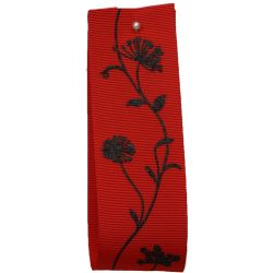 40mm Grosgrain Ribbon With Floral Print In Red