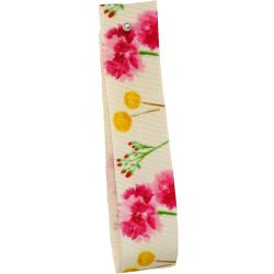Floral Print Ribbon With Rustic Taffeta Base 25mm x 20m