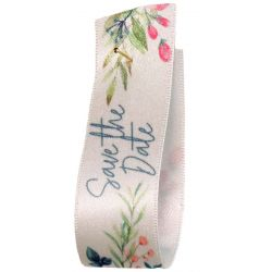 Save the Date Satin Floral Ribbon By Berisfords Ribbons