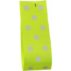 Neon Yellow Grosgrain Ribbon with White Polka Dots - Article 14437