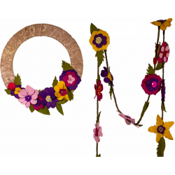felt flower garland and wreath kit