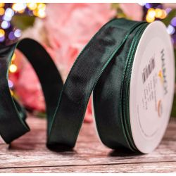 25mm wired taffeta ribbon in forest green