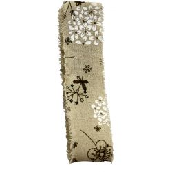 Burlap Frayed Edge Ribbon With Illustrated Flower Design 50mm x 10m